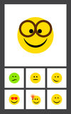 Flat Icon Expression Set Of Pleasant, Have An Good Opinion, Frown And Other Vector Objects. Also Includes Eyes, Smile. Flat Icon Expression Set Of Pleasant, Have royalty free illustration