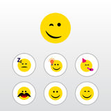Flat Icon Expression Set Of Smile, Asleep. Have An Good Opinion And Other Vector Objects Royalty Free Stock Photo
