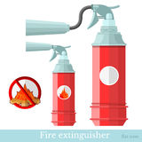 Flat icon extinguisher. Flat fire extinguisher different style and sign careful with fire Royalty Free Stock Photo