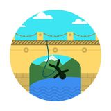 Flat icon for extreme sport. Rope jumping. Royalty Free Stock Photos