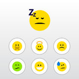 Flat Icon Face Set Of Angel, Frown, Sad And Other Vector Objects. Also Includes Smile, Grin, Cheerful Elements. Stock Photography