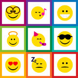 Flat Icon Face Set Of Angel, Grin, Pleasant And Other Vector Objects. Also Includes Cheerful, Fun, Sing Elements. Flat Icon Face Set Of Angel, Grin, Pleasant Royalty Free Stock Photography