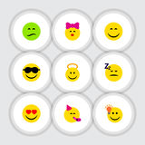 Flat Icon Face Set Of Asleep, Frown, Love And Other Vector Objects. Also Includes Idea, Sunglasses, Asleep Elements. Flat Icon Face Set Of Asleep, Frown, Love stock illustration