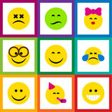 Flat Icon Face Set Of Caress, Frown, Party Time Emoticon And Other Vector Objects. Also Includes Joy, Tears, Eyeglasses. Flat Icon Face Set Of Caress, Frown royalty free illustration