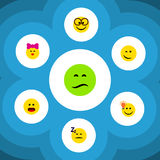Flat Icon Face Set Of Frown, Caress, Wonder And Other Vector Objects. Also Includes Smile, Winking, Confused Elements. Flat Icon Face Set Of Frown, Caress stock illustration