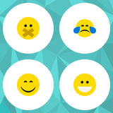 Flat Icon Face Set Of Grin, Cold Sweat, Smile And Other Vector Objects. Also Includes Laugh, Face, Silent Elements. Stock Photo