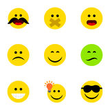 Flat Icon Face Set Of Have An Good Opinion, Frown, Wonder And Other Vector Objects. Also Includes Sad, Confused, Laugh royalty free illustration