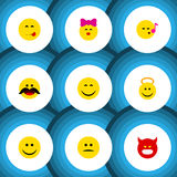 Flat Icon Face Set Of Joy, Cheerful, Pouting And Other Vector Objects. Also Includes Savoring, Cheerful, Whiskers Royalty Free Stock Photos