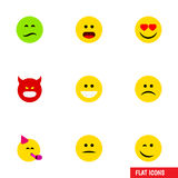 Flat Icon Face Set Of Party Time Emoticon, Love, Frown And Other Vector Objects. Also Includes Emoji, Heart, Frown. Flat Icon Face Set Of Party Time Emoticon royalty free illustration