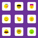 Flat Icon Face Set Of Pleasant, Caress, Have An Good Opinion And Other Vector Objects. Also Includes Face, Light. Flat Icon Face Set Of Pleasant, Caress, Have An Royalty Free Stock Photo