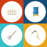 Flat Icon Farm Set Of Container, Wooden Barrier, Hay Fork And Other Vector Objects. Also Includes Tool, Container Royalty Free Stock Images