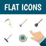 Flat Icon Farm Set Of Shovel, Harrow, Cutter And Other Vector Objects. Also Includes Hoe, Spade, Tool Elements. Stock Image