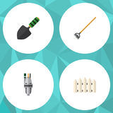 Flat Icon Farm Set Of Wooden Barrier, Tool, Pump And Other Vector Objects. Also Includes Trowel, Wooden, Equipment Royalty Free Stock Photography