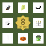 Flat Icon Festival Set Of Spinner, Gourd, Phantom And Other Vector Objects. Also Includes Pumpkin, Cobweb, Ghost Stock Image