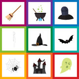 Flat Icon Festival Set Of Witch Cap, Spinner, Broom And Other Vector Objects. Also Includes Witch, Tomb, Phantom. Flat Icon Festival Set Of Witch Cap, Spinner Stock Image