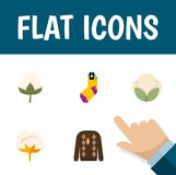 Flat Icon Fiber Set Of Cotton, Hosiery, Flower And Other Vector Objects. Also Includes Organic, Flower, Socks Elements. Stock Photos