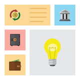 Flat Icon Finance Set Of Bank, Bubl, Interchange And Other Vector Objects. Also Includes Pocketbook, Building, Safe. Flat Icon Finance Set Of Bank, Bubl Royalty Free Stock Image