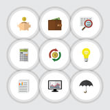 Flat Icon Finance Set Of Calculate, Parasol, Scan And Other Vector Objects. Also Includes Beach, Document, Magnifier Royalty Free Stock Image