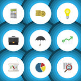 Flat Icon Finance Set Of Cash, Calculate, Parasol And Other Vector Objects. Also Includes Graph, Bar, Growth Elements. Flat Icon Finance Set Of Cash, Calculate Stock Image
