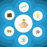 Flat Icon Finance Set Of Cash, Scan, Growth And Other Vector Objects. Also Includes Box, Scan, Diagram Elements. Stock Image