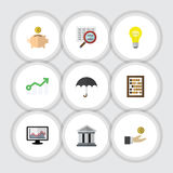 Flat Icon Finance Set Of Chart, Growth, Scan And Other Vector Objects. Also Includes Diagram, Arrow, Beach Elements. Flat Icon Finance Set Of Chart, Growth Stock Illustration