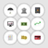 Flat Icon Finance Set Of Greenback, Payment, Parasol And Other Vector Objects. Also Includes Coin, Strongbox, Safe. Flat Icon Finance Set Of Greenback, Payment Royalty Free Stock Photos
