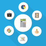 Flat Icon Finance Set Of Money Box, Diagram, Graph And Other Vector Objects. Also Includes Diagram, Finance, Diplomat Royalty Free Stock Photo