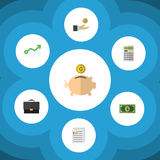 Flat Icon Finance Set Of Money Box, Greenback, Growth And Other Vector Objects. Also Includes Calculate, Finance. Flat Icon Finance Set Of Money Box, Greenback Stock Photo