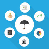 Flat Icon Finance Set Of Parasol, Diagram, Bank And Other Vector Objects. Also Includes Safe, Arrow, Money Elements. Flat Icon Finance Set Of Parasol, Diagram Stock Photo