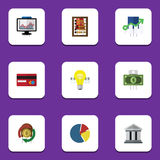 Flat Icon Finance Set Of Payment, Bubl, Counter And Other Vector Objects. Also Includes Light, Abacus, Building Elements Stock Image