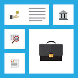 Flat Icon Finance Set Of Portfolio, Document, Scan And Other Vector Objects. Also Includes Hand, Scan, Bank Elements. Flat Icon Finance Set Of Portfolio Stock Photography