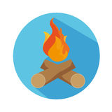 Flat Icon Of Fire And Wood With Long Shadow For Travel, Hiking. Flat Icon Of Fire And Wood With Long Shadow For Travel And Hiking Stock Image