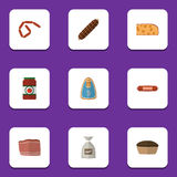 Flat Icon Food Set Of Bratwurst, Sack, Ketchup And Other Vector Objects. Also Includes Beef, Frankfurt, Sack Elements. Flat Icon Food Set Of Bratwurst, Sack Royalty Free Stock Photos