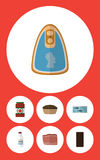 Flat Icon Food Set Of Canned Chicken, Bottle, Ketchup And Other Vector Objects. Also Includes Food, Bar, Tart Elements. Royalty Free Stock Image