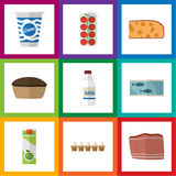 Flat Icon Food Set Of Tomato, Tart, Bottle And Other Vector Objects. Also Includes Yogurt, Tomato, Packet Elements. Royalty Free Stock Photos