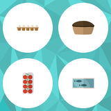 Flat Icon Food Set Of Tomato, Tin Tuna, Tart And Other Vector Objects. Also Includes Egg, Box, Love Elements. Stock Photography