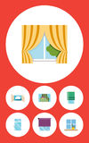 Flat Icon Frame Set Of Balcony, Cloud, Glazing And Other Vector Objects. Also Includes Open, Frame, Glass Elements. royalty free illustration