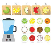 Flat Icon of Fruit and Blender Juice Stock Photography