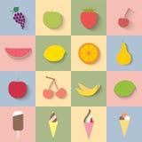 Flat icon fruit and ice cream Stock Photos