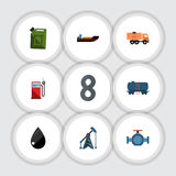 Flat Icon Fuel Set Of Petrol, Flange, Fuel Canister And Other Vector Objects. Also Includes Gas, Boat, Liquid Elements. royalty free illustration