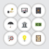 Flat Icon Gain Set Of Bank, Greenback, Chart And Other Vector Objects. Also Includes Chart, Abacus, Money Elements. Flat Icon Gain Set Of Bank, Greenback, Chart Royalty Free Illustration
