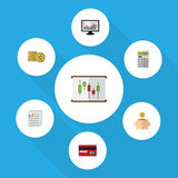 Flat Icon Gain Set Of Calculate, Cash, Chart And Other Vector Objects. Also Includes Paper, Graph, Bank Elements. Royalty Free Stock Photos