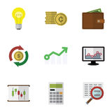 Flat Icon Gain Set Of Cash, Diagram, Bubl And Other Vector Objects. Also Includes Exchange, Coin, Interchange Elements. Flat Icon Gain Set Of Cash, Diagram Stock Photo