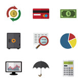 Flat Icon Gain Set Of Interchange, Chart, Parasol And Other Vector Objects. Also Includes Money, Exchange, Finance Stock Photo