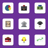 Flat Icon Gain Set Of Payment, Bank, Graph And Other Vector Objects. Also Includes Counter, Growth, Building Elements. Flat Icon Gain Set Of Payment, Bank Stock Photo