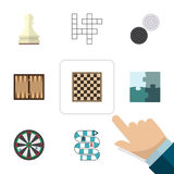 Flat Icon Games Set Of Chequer, Jigsaw, Dice And Other Vector Objects. Also Includes Checkerboard, Crossword. Flat Icon Games Set Of Chequer, Jigsaw, Dice And Royalty Free Stock Photo