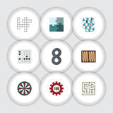 Flat Icon Games Set Of Gomoku, Guess, Poker And Other Vector Objects. Also Includes Maze, Chip, Poker Elements. Flat Icon Games Set Of Gomoku, Guess, Poker And Royalty Free Stock Images