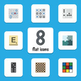 Flat Icon Games Set Of Jigsaw, Bones Game, Gomoku And Other Vector Objects. Also Includes Table, Cube, Renju Elements. Flat Icon Games Set Of Jigsaw, Bones Game Royalty Free Stock Photography