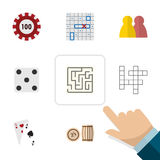 Flat Icon Games Set Of Labyrinth, Guess, Ace And Other Vector Objects. Also Includes Lost, Multiplayer, Play Elements. Royalty Free Stock Image