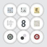 Flat Icon Games Set Of Poker, Gomoku, Mahjong And Other Vector Objects. Also Includes Maze, Arrow, Puzzle Elements. Flat Icon Games Set Of Poker, Gomoku Royalty Free Stock Photography